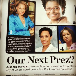"Nov.2012 Edition of Essence Magazine DJW was featured by Dr. Julianne Malveaux as a Woman to Watch..is DJW ""Our Next Prez?"""